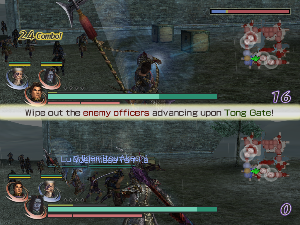 Warriors Orochi Windows 2-player split screen mode. Each player plays a different team but the game engine forces them to have the same characters in their respective teams.