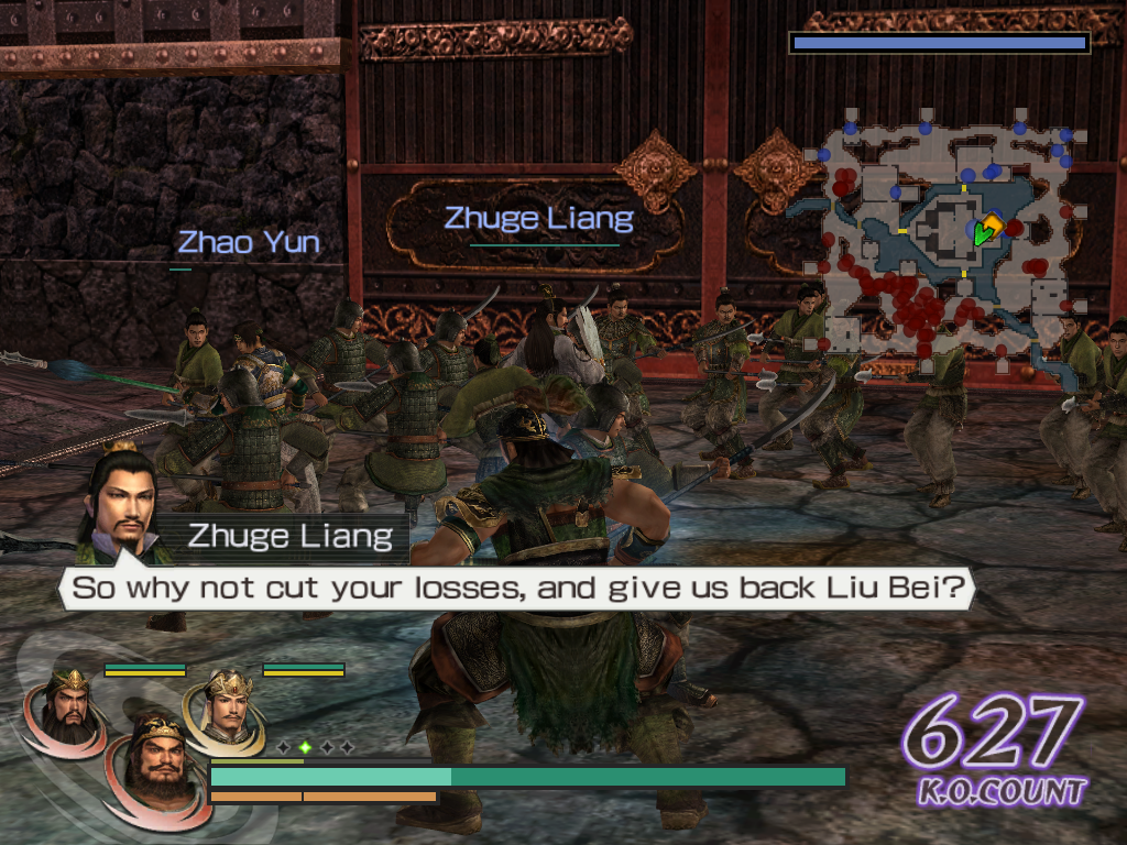 Warriors Orochi Windows Depending on its nature, each character's weapon has a specific range, which will influence the way you play. Check the CPU controlled Zhao Yun's spear compared to Zhuge Liang's fan.