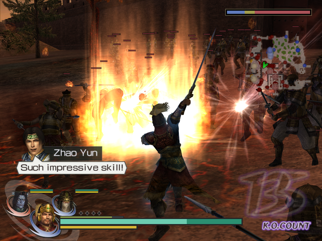 Warriors Orochi Windows Each category of characters (SPD, TEC, PWR) has some special abilities. SPD characters gain a special attack that usually does not consume the musou gauge. Here, Sun Jian shoots a short wall of fire.