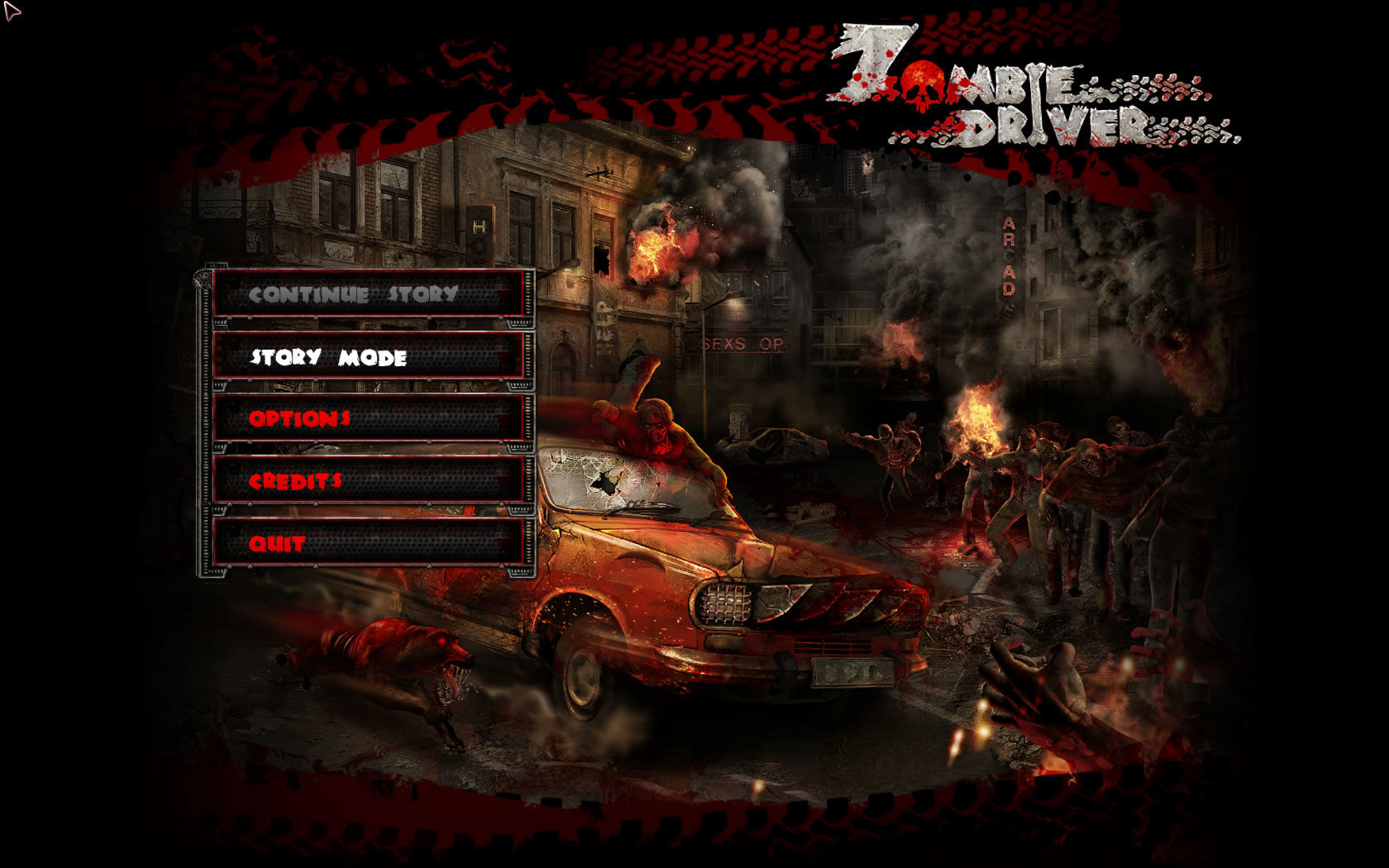 Zombie Driver Windows Main menu
