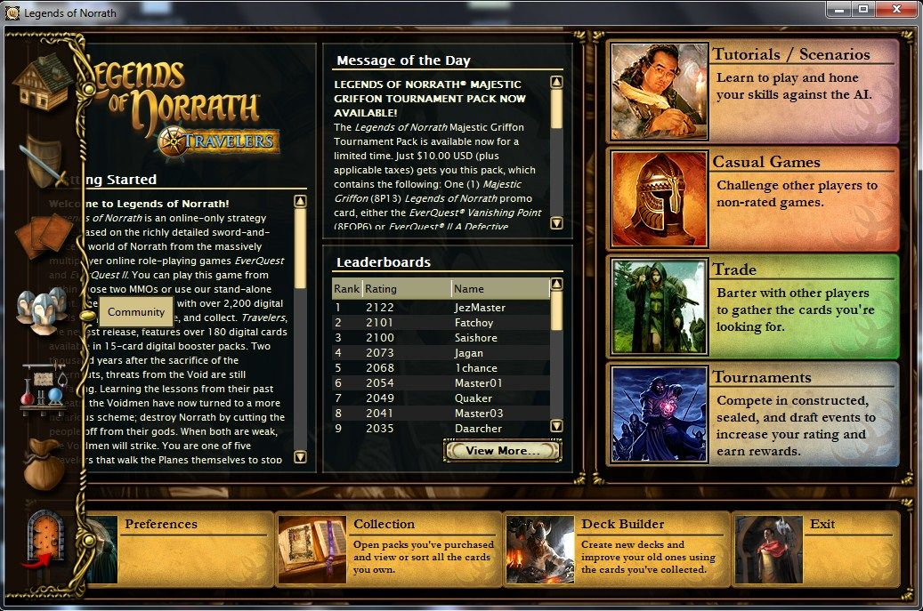 Legends of Norrath Windows Stand-alone client main interface