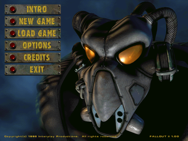 Fallout 2 Windows Title Screen / Main Menu.