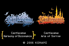 Castlevania: Double Pack Game Boy Advance Game selection screen