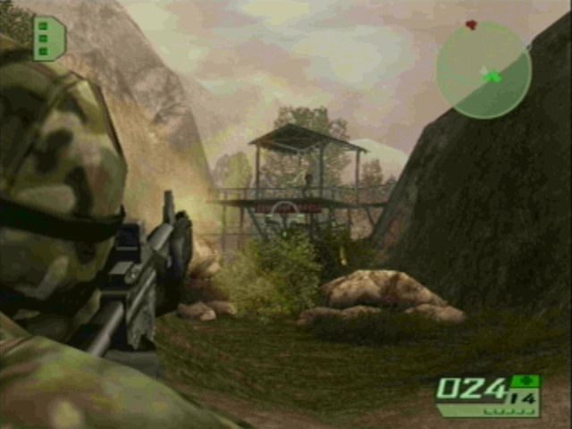 Tom Clancy's Ghost Recon 2 GameCube Engaging the enemy in combat.