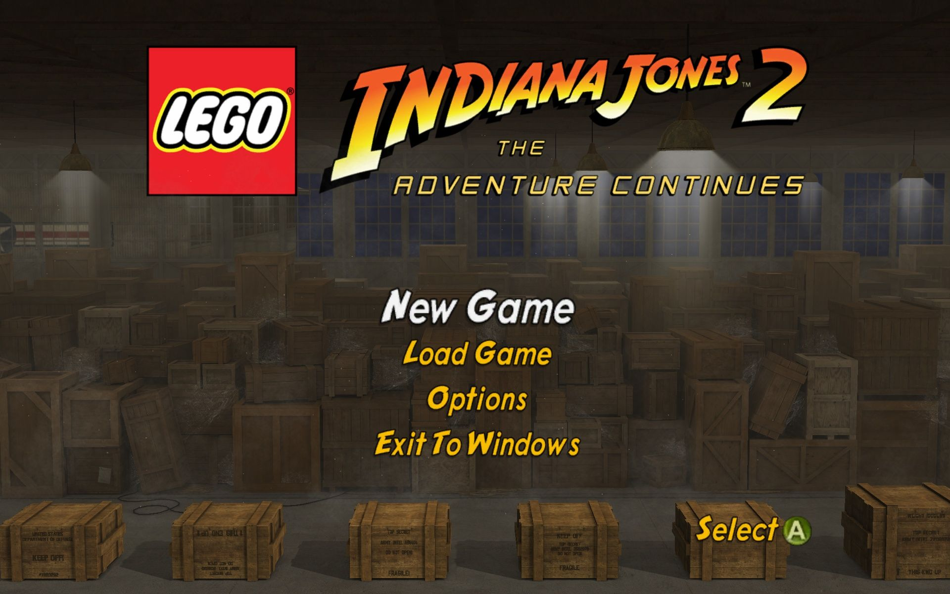 LEGO Indiana Jones 2: The Adventure Continues  Windows Main Menu