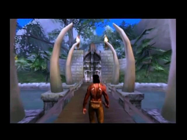Turok: Evolution GameCube Approaching jungle gates.