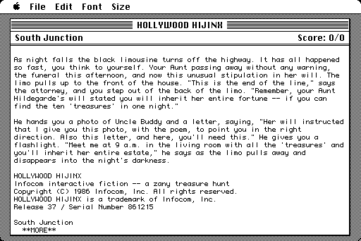 Hollywood Hijinx Macintosh Title and introduction