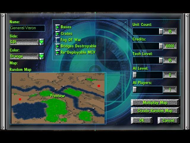 Command & Conquer: Tiberian Sun Windows Setting up a game with AI bots.