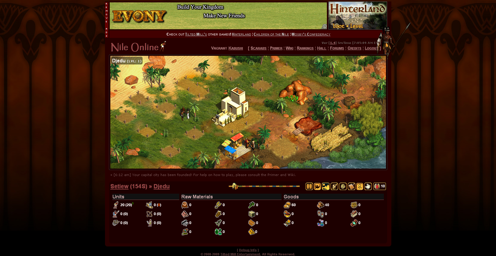 Immortal Cities: Nile Online Browser About to start playing, not much happening yet.
