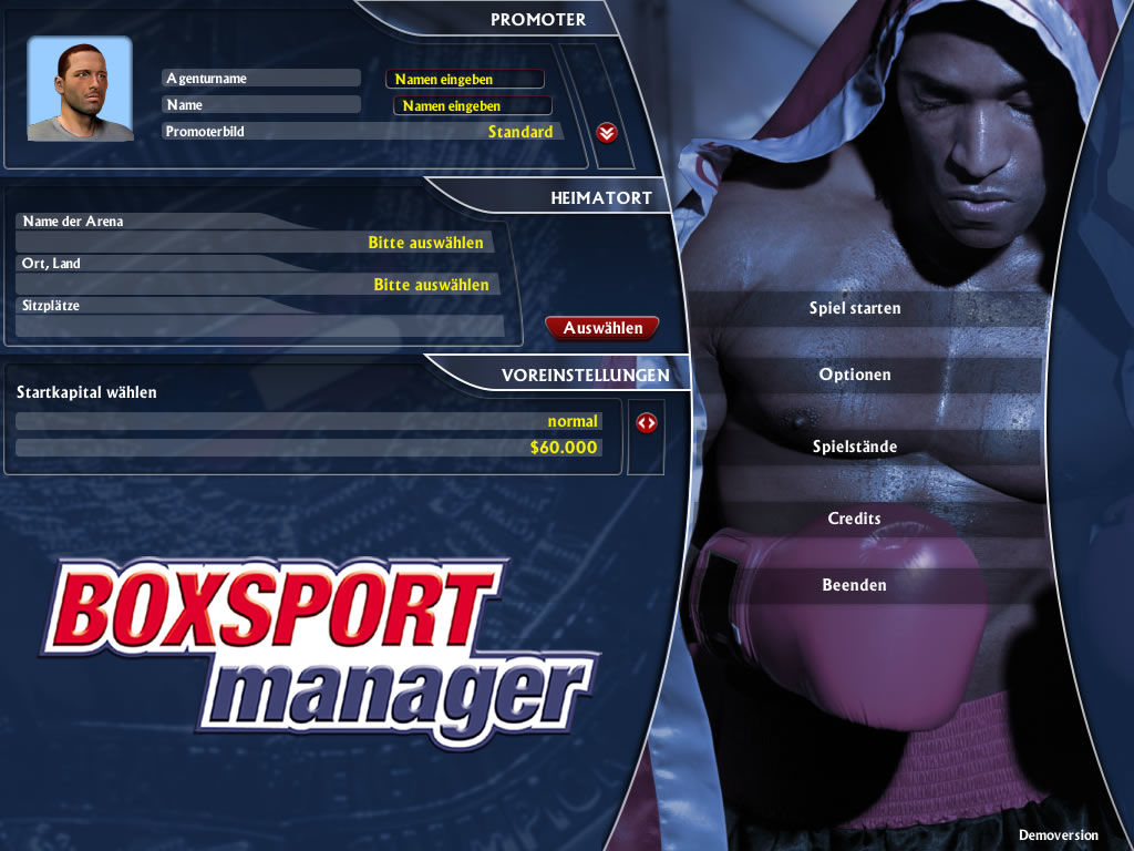 Boxing Manager Windows Main menu (demo version)