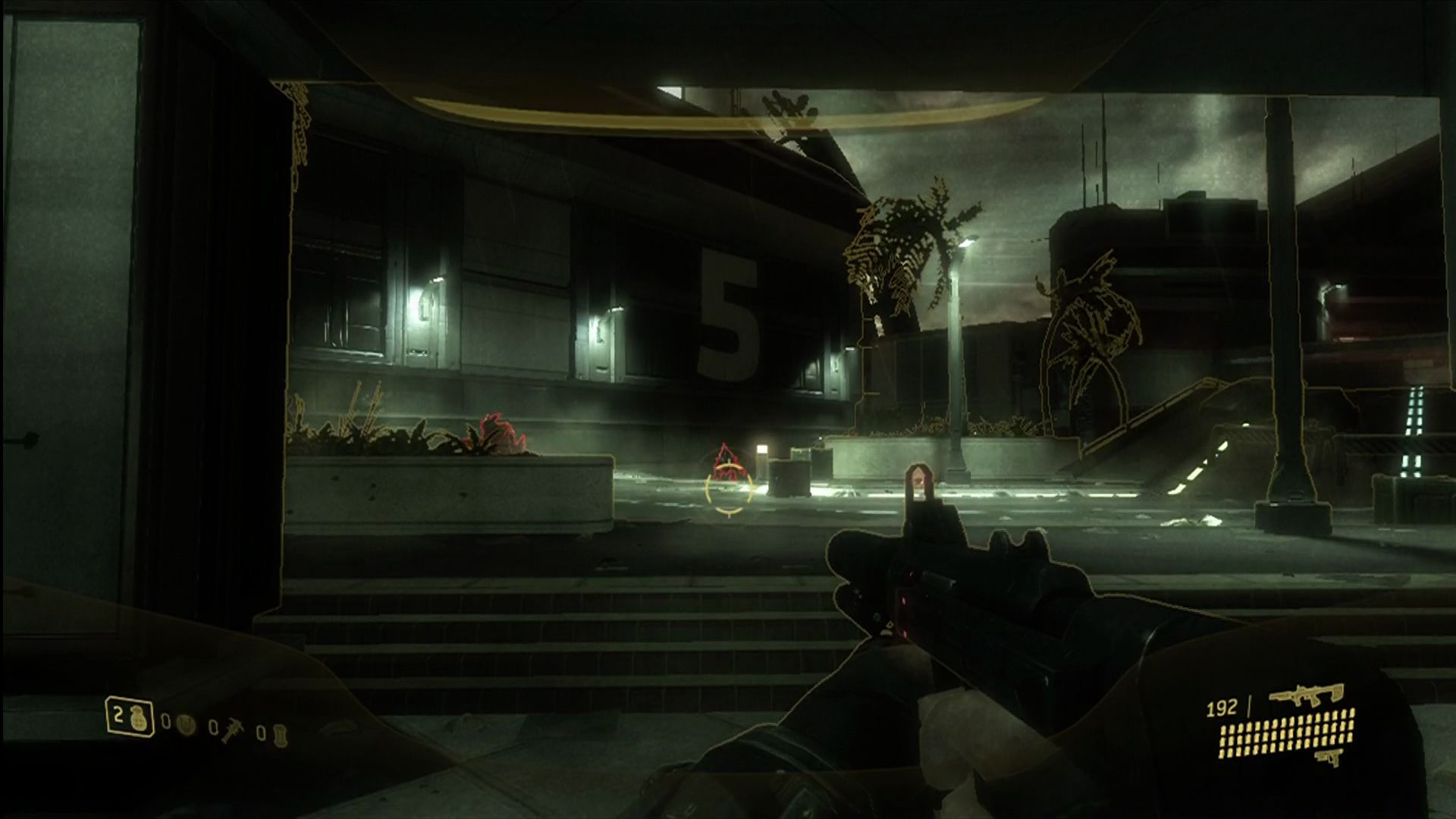 "Halo 3: ODST Xbox 360 ODST's ""VISR"" mode. Combo nightvision and enemy highlighter."