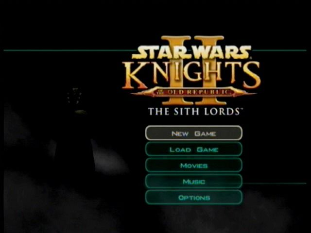 Star Wars: Knights of the Old Republic II - The Sith Lords Xbox Main menu.