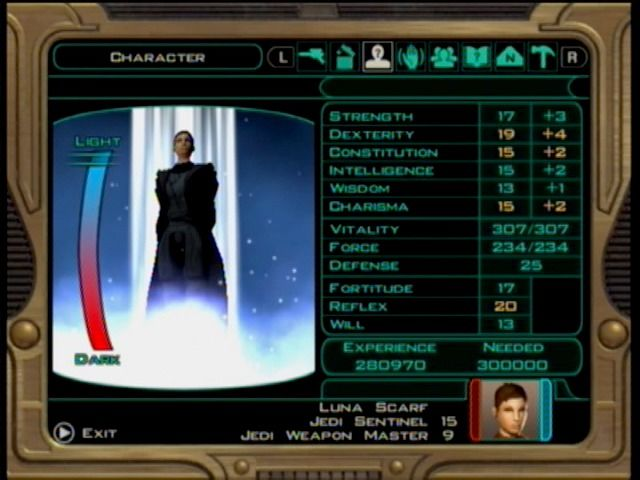 Star Wars: Knights of the Old Republic II - The Sith Lords Xbox The alignment meter shows how good or dark your powers may be.