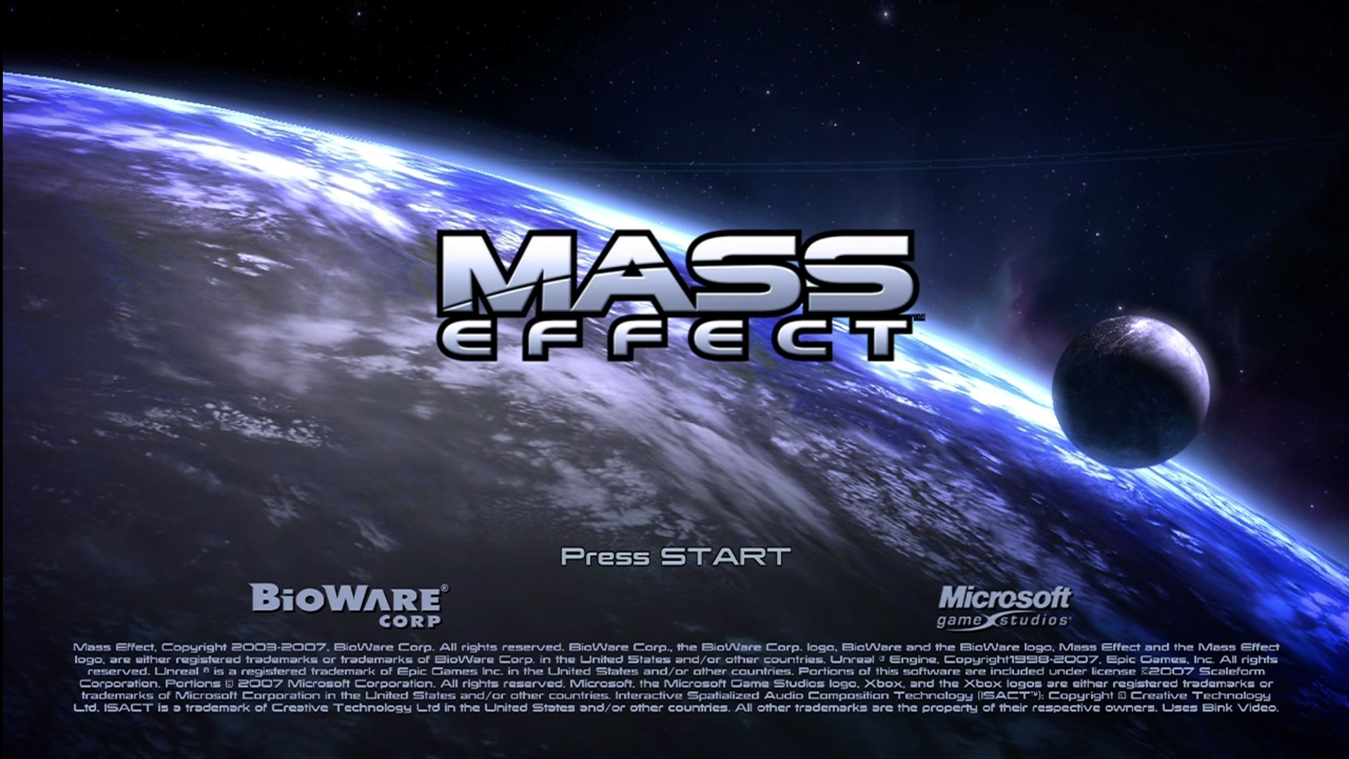 Mass Effect Xbox 360 Title screen