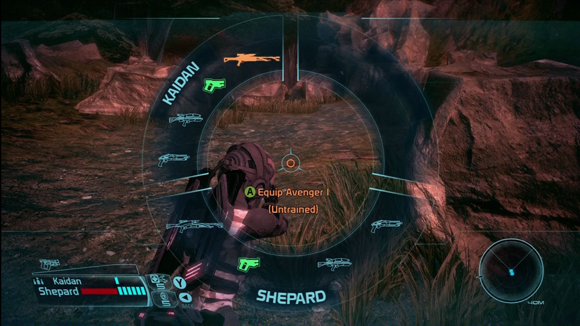 Mass Effect Xbox 360 Switching weapons and powers also uses a radial menu.