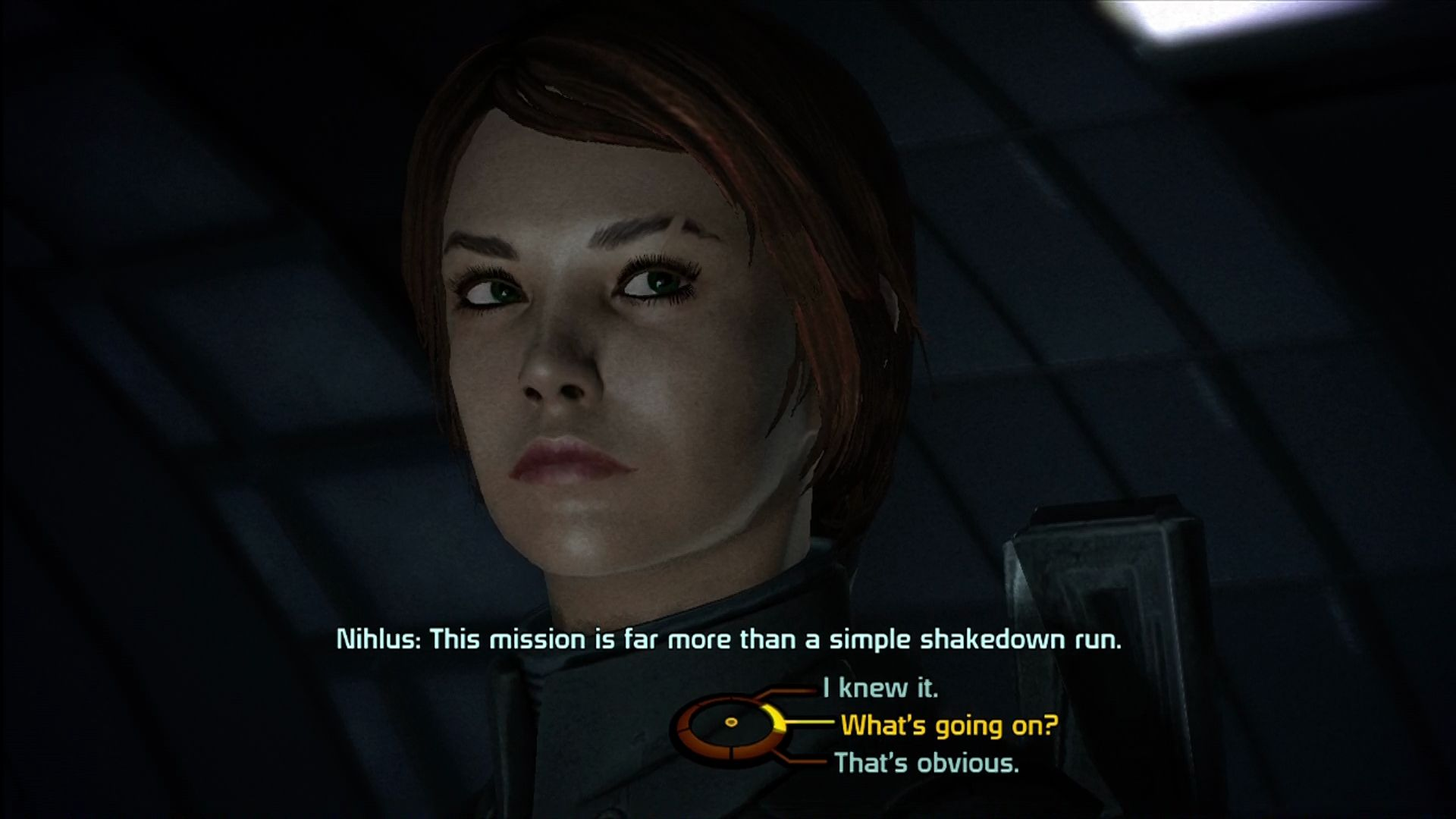 Mass Effect Xbox 360 Dialog choices use a radial menu.