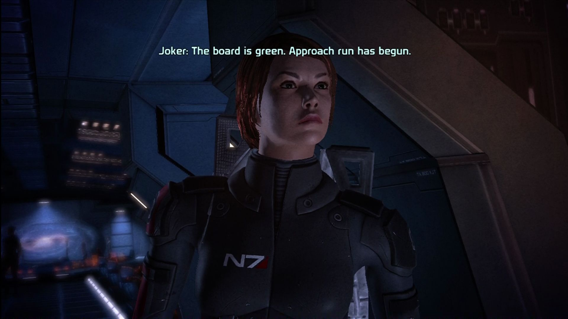 Mass Effect Xbox 360 You can customize your character. Here, female Shepard arrives on scene.