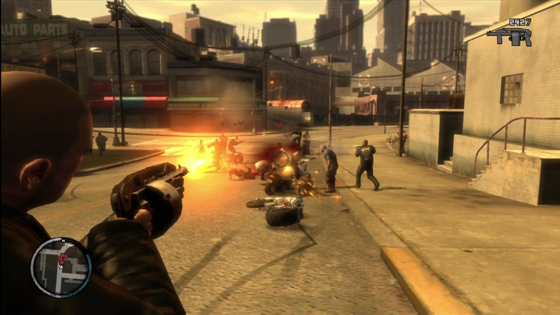 Grand Theft Auto IV: The Lost and Damned Xbox 360 Using the new auto shotgun in a gang war mission.