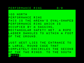 Ballyhoo TRS-80 CoCo Descriptions frequently take more than one screen in the CoCo version