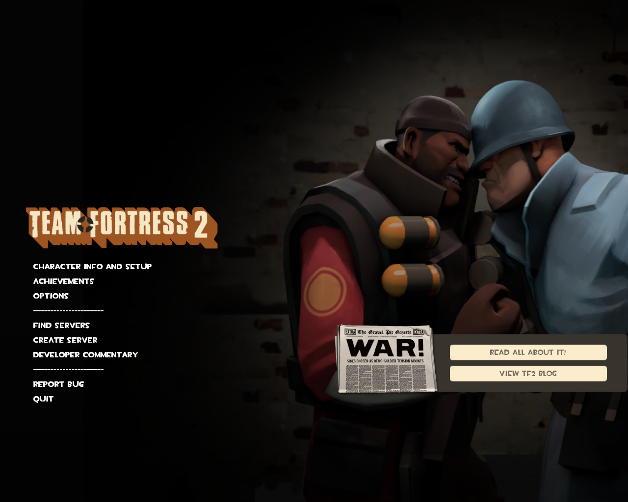 Team Fortress 2 Windows The Soldier vs. Demoman war update included a new background.