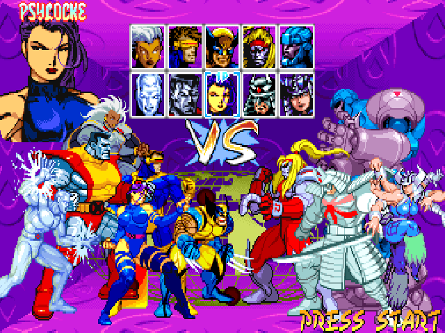 X-Men: Children of the Atom DOS Character selection screen. When you select a character, a larger portrait is displayed on the left (or right for player 2) and the corresponding character at the bottom is animated.