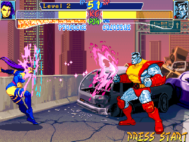 "X-Men: Children of the Atom DOS Here is Psylocke's Psi-Blast, her ""fireball"" move. Doing special moves, regular moves and taking damage will increase the power bar (under the life bar) which is used for super moves."