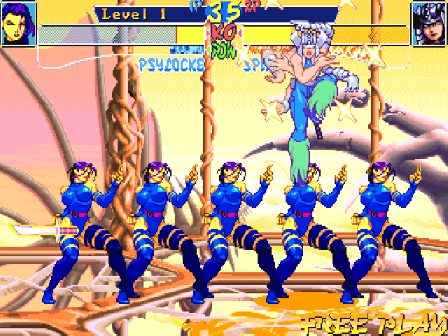 X-Men: Children of the Atom DOS Psylocke's Ninjitsu Split will consume part of the power bar and create multiple images of Psylocke which can deal damage on regular moves. Only the real Psylocke can receive damage.