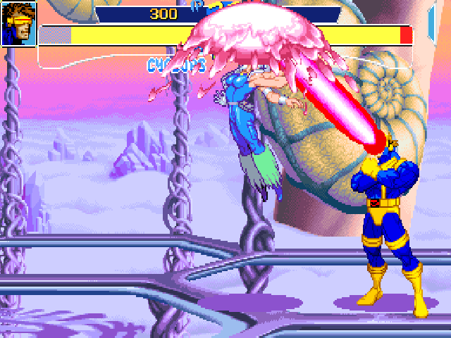 X-Men: Children of the Atom DOS Depending on the button pressed at the end of their execution, some super moves take a different direction. Here a diagonal upwards Optic Blast, good for air interception.