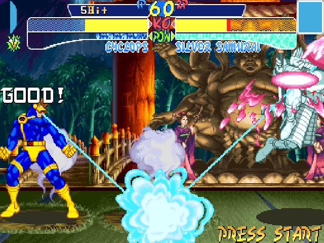 X-Men: Children of the Atom DOS Cyclops has two Hyper X moves. One is Mega Optic Blast. The other, Super Optic Blast, is an Optic Blast that lasts a few seconds, can be fully oriented and is reflected by the ground, as seen here.
