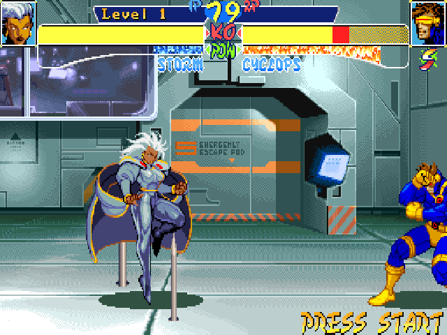 X-Men: Children of the Atom DOS True to the comics, some dangers appear during the fight in the Danger room level, as can be seen here near Storm. These are purely cosmetic however and don't interfere in the battle.