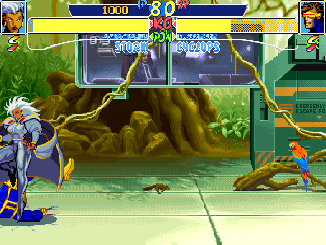 X-Men: Children of the Atom DOS The Danger room can switch to different aspects. For instance, here it simulates a jungle environment.