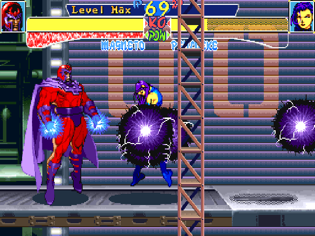 X-Men: Children of the Atom DOS Do the same but with the three kick buttons and you will play as Magneto. His Hyper Grav move, seen here, can grab an enemy, even if he/she is in defense position.