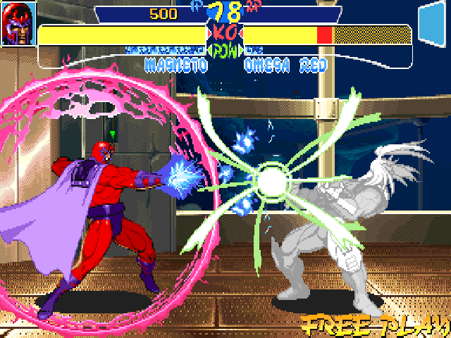 X-Men: Children of the Atom DOS One of Magneto's super move is Force field. For a brief moment, it will block any projectile or any attack! But his attacks can still get out!!!