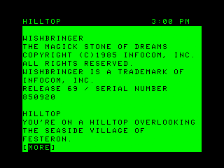 Wishbringer TRS-80 CoCo Title and the starting location