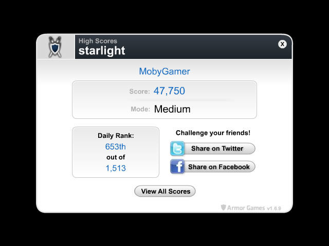 Starlight Browser A high score system tied to the Armor Games site.