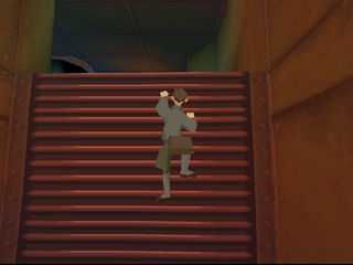 Disney's Atlantis: The Lost Empire PlayStation Milo climbing the stairs.