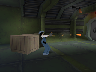 Disney's Atlantis: The Lost Empire PlayStation Audrey shooting her gun.