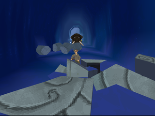Disney's Atlantis: The Lost Empire PlayStation Milo running from the mammoth.