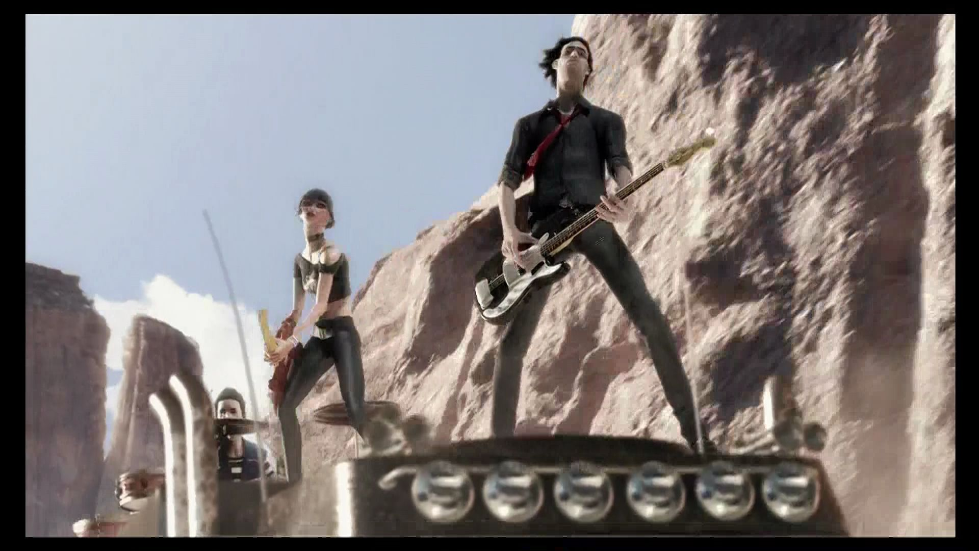 Rock Band Xbox 360 Band rocks out atop a moving vehicle in the intro.