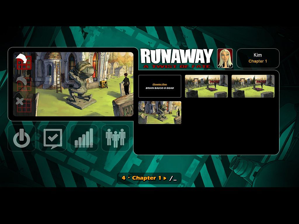 Runaway: A Twist of Fate Windows Save and Options Screen