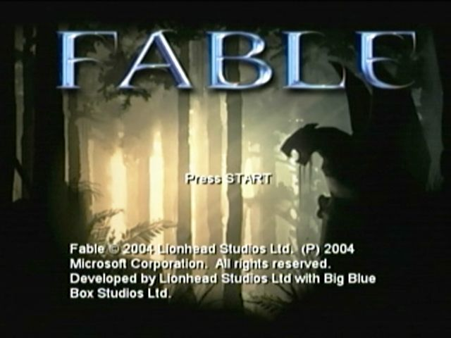 Fable Xbox Title screen