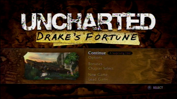 Uncharted: Drake's Fortune PlayStation 3 Main menu
