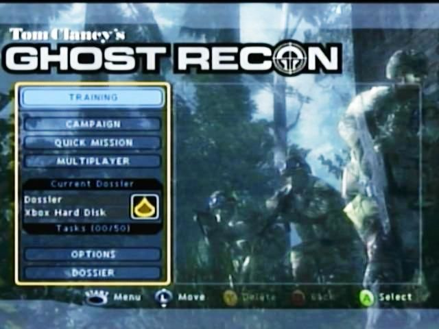 Tom Clancy's Ghost Recon Xbox Main Menu