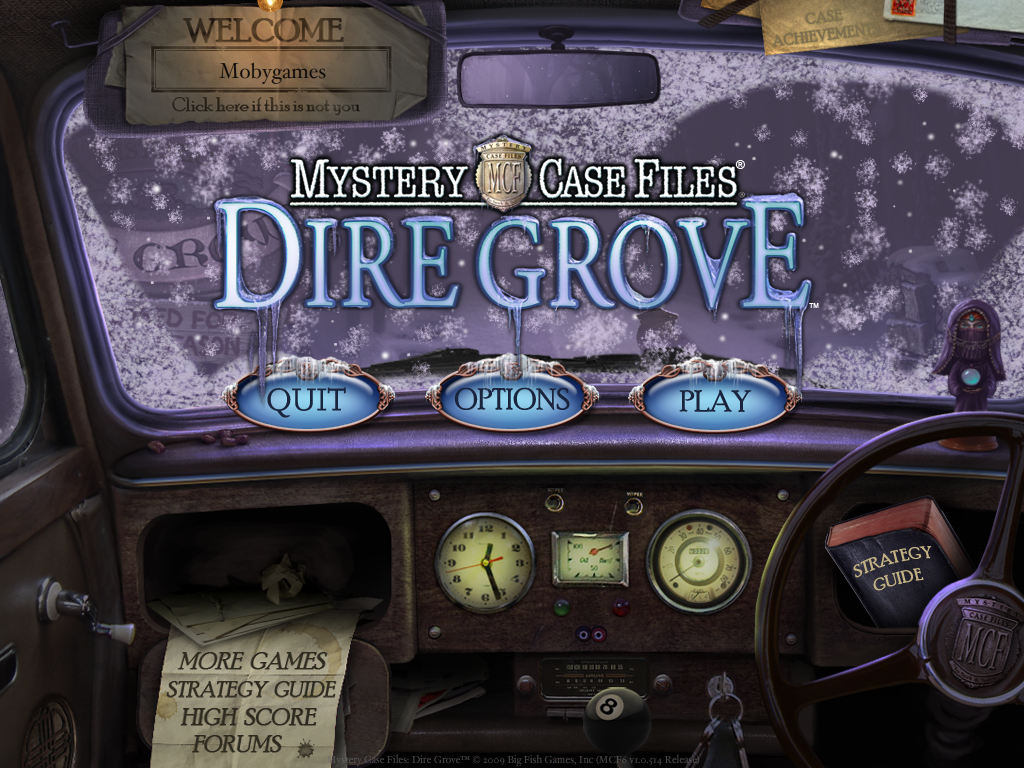 Mystery Case Files: Dire Grove (Collector's Edition) Windows Main menu