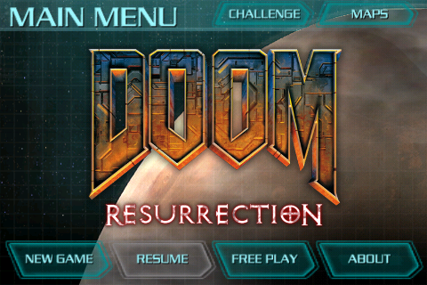 DOOM Resurrection iPhone Main Menu