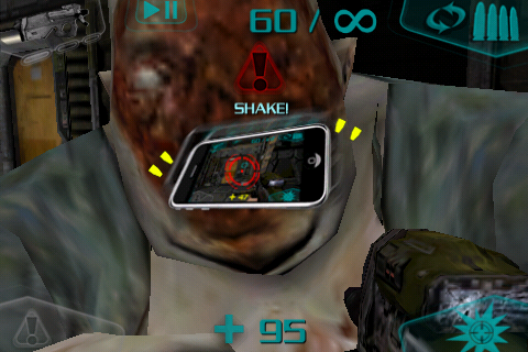 DOOM Resurrection iPhone If a fat zombie gets a hold of you, you've to shake your device to get free.