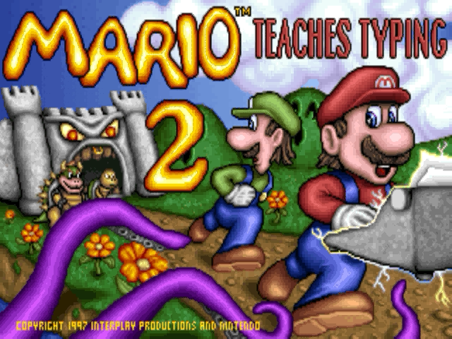 Mario Teaches Typing 2 Windows This is the title screen of the game.