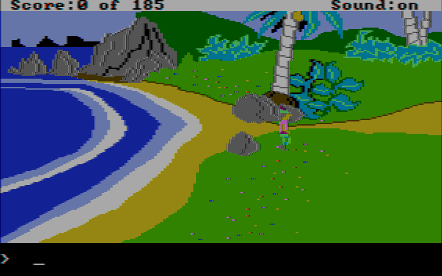 King's Quest II: Romancing the Throne DOS Beach (CGA Composite)