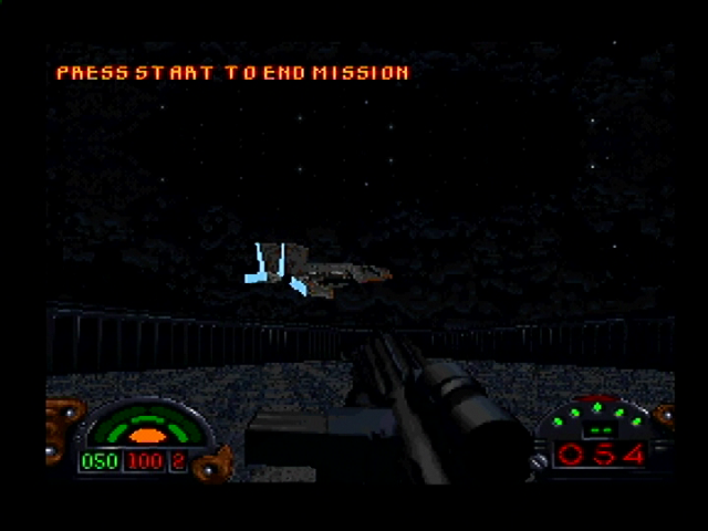 Star Wars: Dark Forces PlayStation Textured 3-D object appear, such as your ship arriving to pick you up.