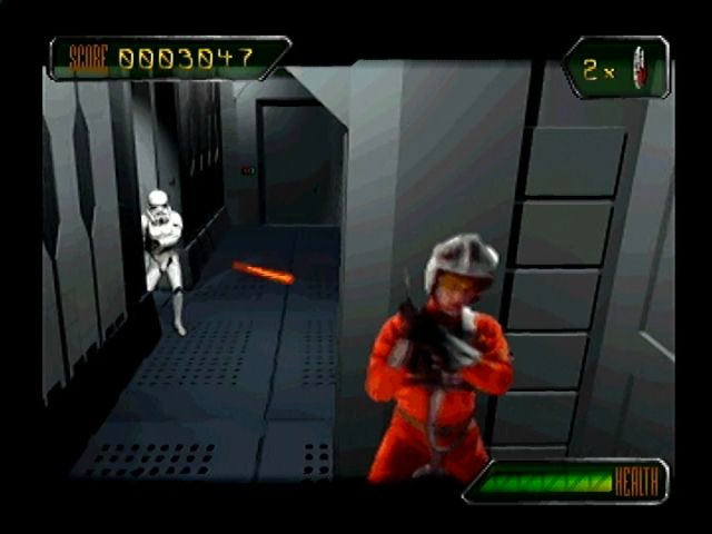 Star Wars: Rebel Assault II - The Hidden Empire PlayStation You press a button to duck in and out of cover.